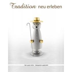 Räuchermann aus dem Erzgebirge in Edelstahl - Der gute Hirte (glasperlengestrahlt)