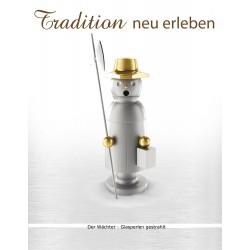 Räuchermann in Edelstahl - aus dem Erzgebirge - Der Wächter (glasperlengestrahlt)