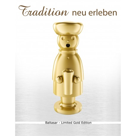 Exklusiver Räuchermann aus dem Erzgebirge -BALTHASAR- Limited Gold Edition
