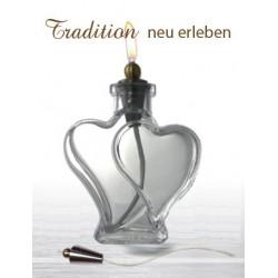 Brennendes Herz (doppelt) - Öllampe